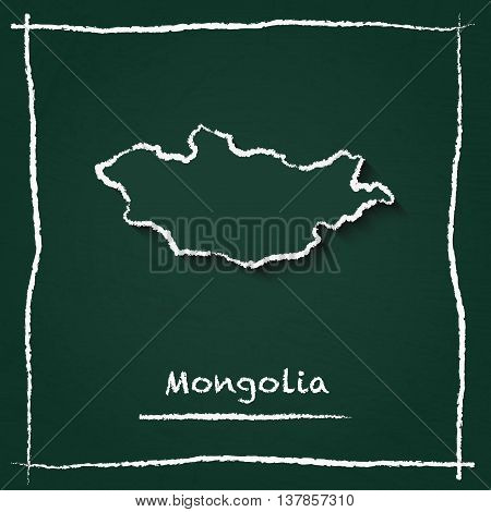 Mongolia Outline Vector Map Hand Drawn With Chalk On A Green Blackboard. Chalkboard Scribble In Chil