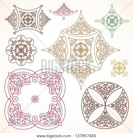 Filigree Vector Frames And Vignettes In Eastern Style.