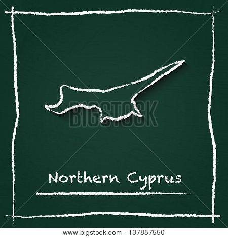 Northern Cyprus Outline Vector Map Hand Drawn With Chalk On A Green Blackboard. Chalkboard Scribble