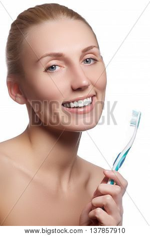 Beautiful Woman With Toothbrush. Dental Care Background