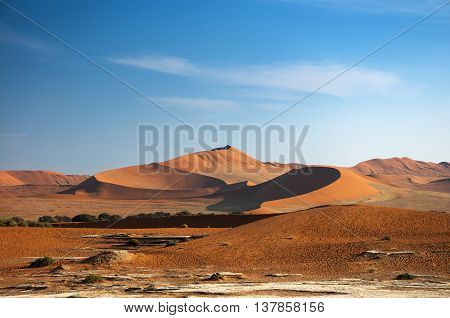 Red dunes in Sossusvlei in Namibia Africa