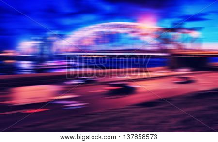 Horizontal vivid cross processed Night Saint Petersburg abstraction background backdrop
