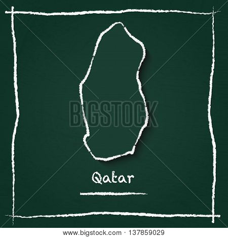 Qatar Outline Vector Map Hand Drawn With Chalk On A Green Blackboard. Chalkboard Scribble In Childis
