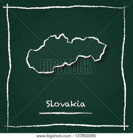 Slovakia Outline Vector Map Hand Drawn With Chalk On A Green Blackboard. Chalkboard Scribble In Chil