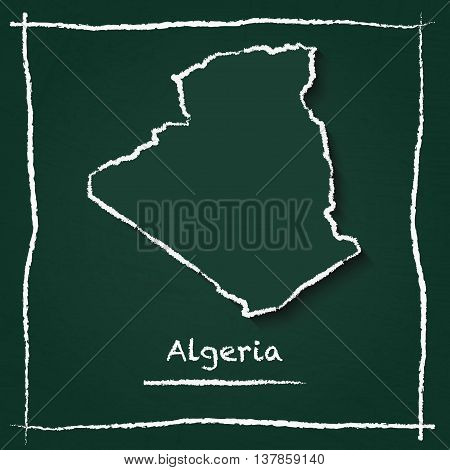 Algeria Outline Vector Map Hand Drawn With Chalk On A Green Blackboard. Chalkboard Scribble In Child