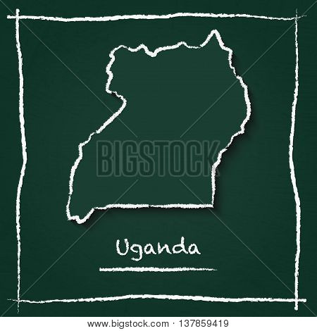 Uganda Outline Vector Map Hand Drawn With Chalk On A Green Blackboard. Chalkboard Scribble In Childi