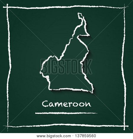 Cameroon Outline Vector Map Hand Drawn With Chalk On A Green Blackboard. Chalkboard Scribble In Chil