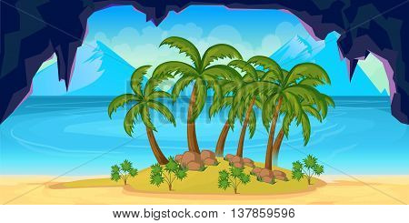 Illustration of a cartoon seamless summer tropical background with palm and sea.1024x512