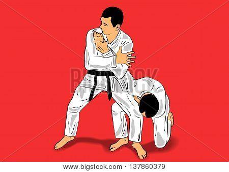 two fighters in a kimono in the jiu-jitsu training