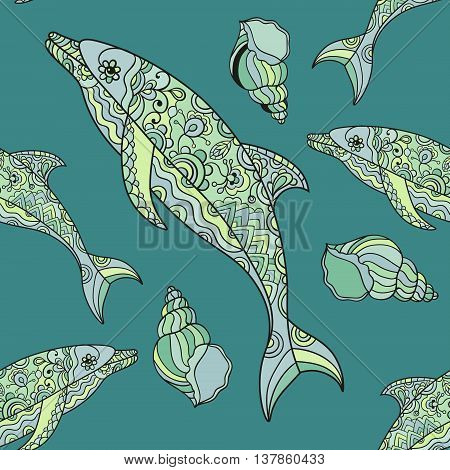 Vector seamless dolphin pattern with hand drawn dolphin doodle illustrations. Boho styled.