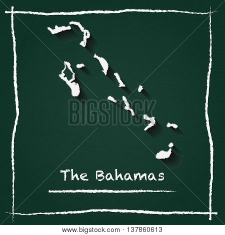 Bahamas Outline Vector Map Hand Drawn With Chalk On A Green Blackboard. Chalkboard Scribble In Child