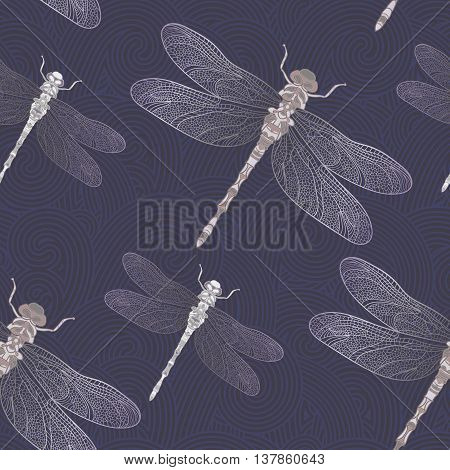 Seamless vector pattern with bright shiny dragonfly on a dark blue background. Can be used for wallpaper, pattern fills, web page background, surface textures. Vector tribal design.