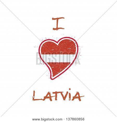 Latvian Flag Patriotic T-shirt Design. Heart Shaped National Flag Latvia On White Background. Vector