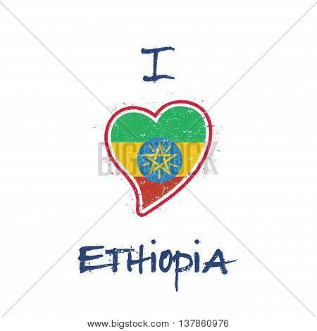 Ethiopian Flag Patriotic T-shirt Design. Heart Shaped National Flag Ethiopia On White Background. Ve