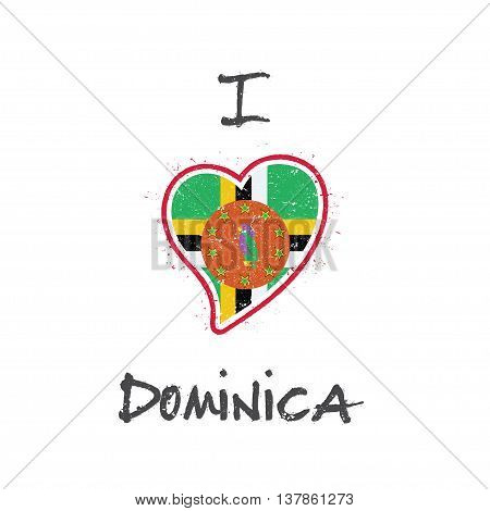Dominican Flag Patriotic T-shirt Design. Heart Shaped National Flag Dominica On White Background. Ve