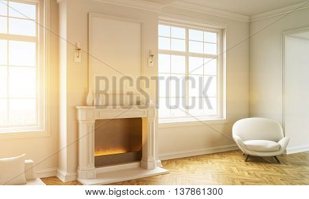 Side view of classic living room interior with wooden floor white armchair windows with sunlight and a blank picture frame above fireplace. Toned image. Mock up 3D Rendering