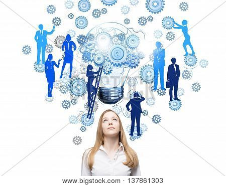 Teamwork concept with thoughtful businesswoman and abstract drawing of gears lightbulb and people silhouettes on ladder. White background