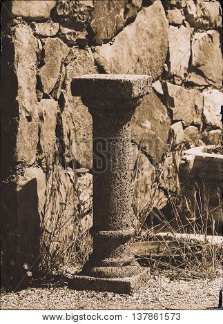 Vertical antique pedestal bokeh design postcard composition