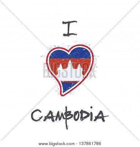 Cambodian Flag Patriotic T-shirt Design. Heart Shaped National Flag Cambodia On White Background. Ve