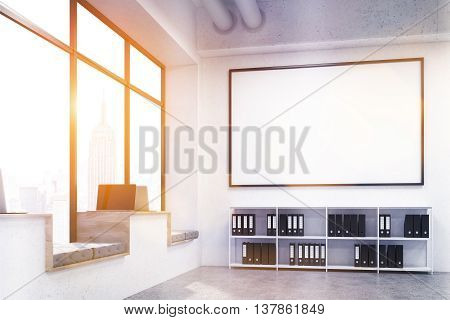Modern hipster windowsill workplaces in concrete interior with document cabinet huge blank picture frame and window with New York city view. Toned image. Mock up 3D Rendering