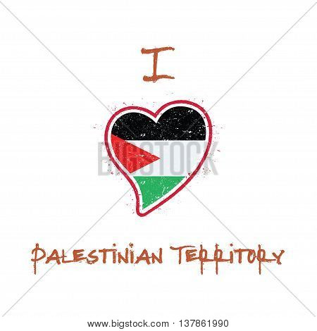Palestinian Flag Patriotic T-shirt Design. Heart Shaped National Flag Palestine, State Of On White B