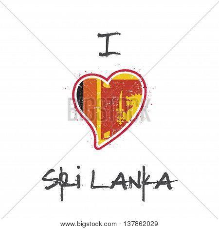 Sri Lankan Flag Patriotic T-shirt Design. Heart Shaped National Flag Sri Lanka On White Background.