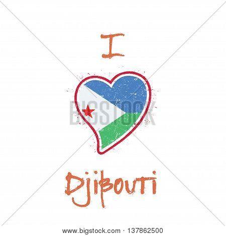 Djibouti Flag Patriotic T-shirt Design. Heart Shaped National Flag Djibouti On White Background. Vec