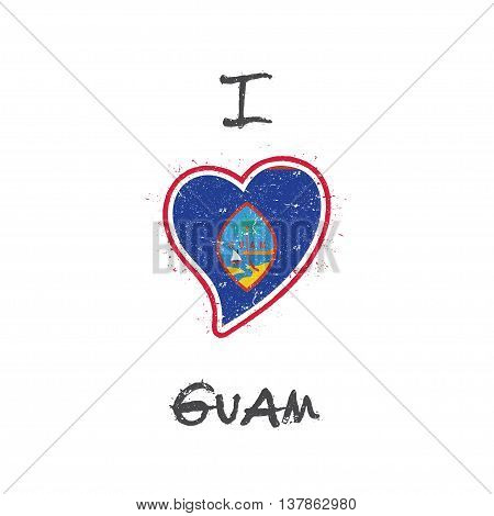 Guamanian Flag Patriotic T-shirt Design. Heart Shaped National Flag Guam On White Background. Vector