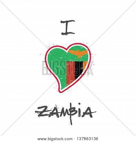 Zambian Flag Patriotic T-shirt Design. Heart Shaped National Flag Zambia On White Background. Vector