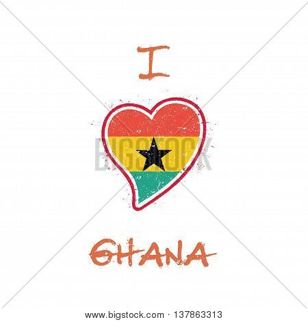 Ghanaian Flag Patriotic T-shirt Design. Heart Shaped National Flag Ghana On White Background. Vector