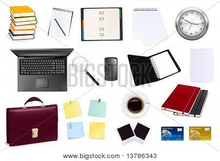 Suministros de oficina y negocios. Ilustración del vector.