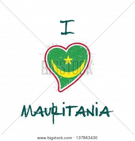 Mauritanian Flag Patriotic T-shirt Design. Heart Shaped National Flag Mauritania On White Background