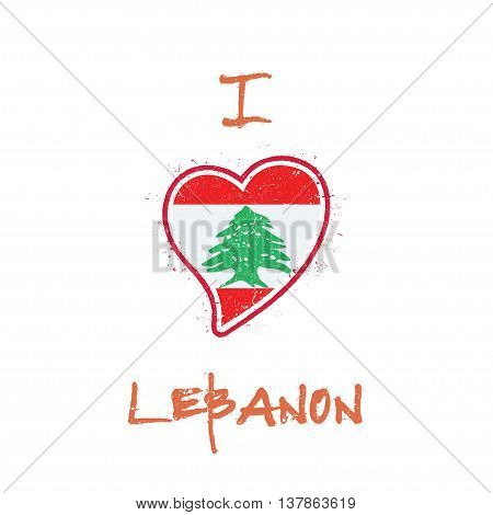 Lebanese Flag Patriotic T-shirt Design. Heart Shaped National Flag Lebanon On White Background. Vect