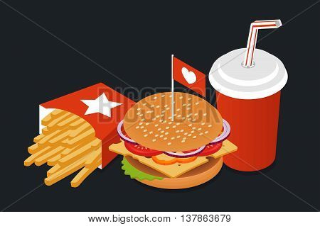 Vector illustration of isometric food: burger French fries and cola. Fast food concept.