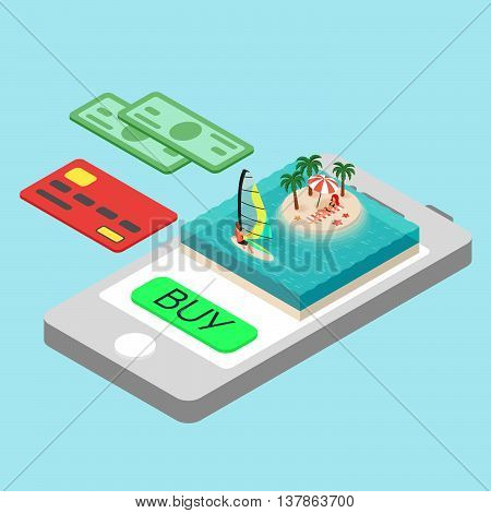 Vector isometric concept for online purchase touristic tour. Credit card money and smartphone. Windsurfer. Tropical island on the sea. Man and woman on vacation.