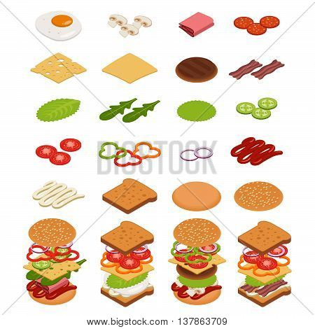 Vector set of isometric icons. Ingredients for burgers and sandwiches. Fried egg onions beef cheese cucumbers and other elements to build custom burger. Icons for fast food design. Tasty snack.