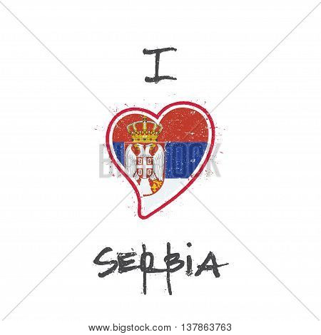 Serbian Flag Patriotic T-shirt Design. Heart Shaped National Flag Serbia On White Background. Vector