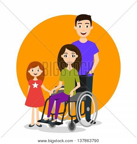 Vector illustration of disabled person with family. Disabled woman in wheelchair.