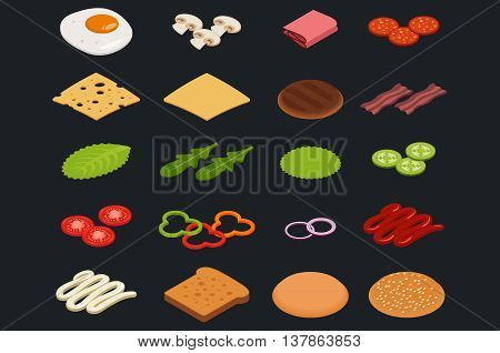 Vector set of isometric icons. Ingredients for burgers and sandwiches. Fried egg onions beef cheese cucumbers and other elements to build custom burger. Icons for fast food design.