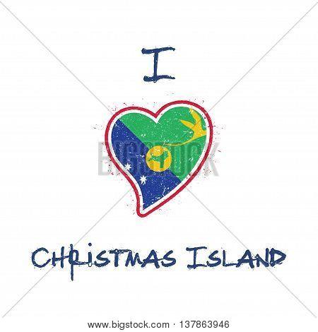 Christmas Island Flag Patriotic T-shirt Design. Heart Shaped National Flag Christmas Island On White
