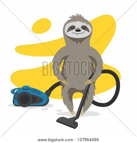 Vector illustration of happy cute sloth that makes cleaning with a vacuum cleaner. Vector print for t-shirt or poster design.