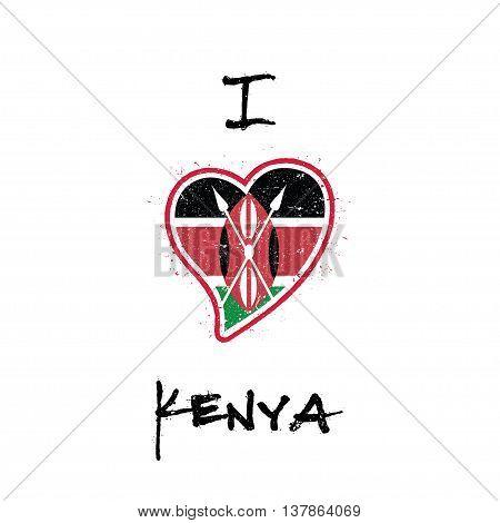Kenyan Flag Patriotic T-shirt Design. Heart Shaped National Flag Kenya On White Background. Vector I