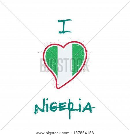 Nigerian Flag Patriotic T-shirt Design. Heart Shaped National Flag Nigeria On White Background. Vect