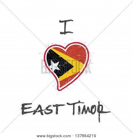 East Timorese Flag Patriotic T-shirt Design. Heart Shaped National Flag Timor-leste On White Backgro