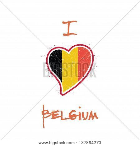 Belgian Flag Patriotic T-shirt Design. Heart Shaped National Flag Belgium On White Background. Vecto