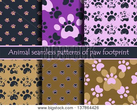 Vector colour illustrationsith animal footprints. Vector seamless pattern set with cat or dog footprints. Can be used for wallpaper, web page background, surface textures, cards and posters. EPS 10
