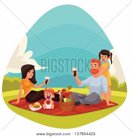 Happy family countryside picnic cartoon style vector illustration. Father, mother, daughter and son having picnic together outdoors eating and drinking