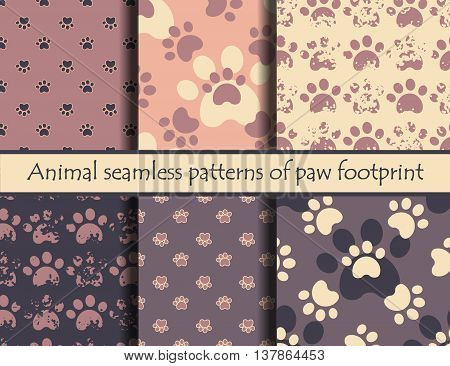Vector grunde illustrationsith animal footprints. Vector seamless pattern set with cat or dog footprints. Can be used for wallpaper, web page background, surface textures, cards and posters. EPS 10