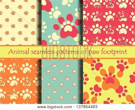 Vector bright illustrationsith animal footprints. Vector seamless pattern set with cat or dog footprints. Can be used for wallpaper, web page background, surface textures, cards and posters. EPS 10
