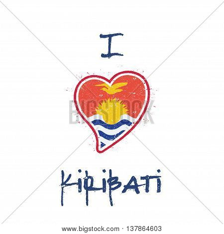 I-kiribati Flag Patriotic T-shirt Design. Heart Shaped National Flag Kiribati On White Background. V